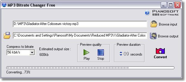 Change MP3 bitrate with audio result preview